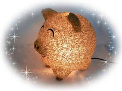Lucky gold pig lamp